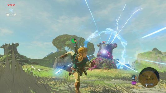 The Legend of Zelda Breath of the Wild Link esquive une attaque de Gardien
