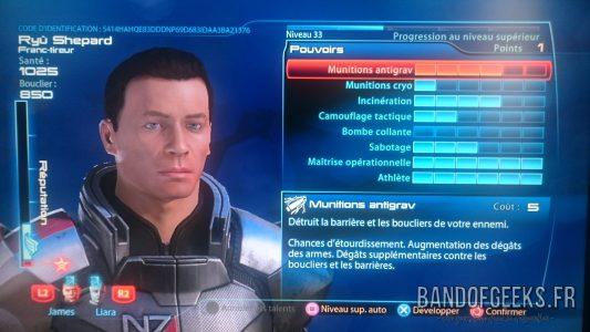 Mass Effect 3 Ecran de sélection des pouvoirs