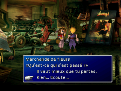 Final Fantasy VII Cloud discute avec Aerith