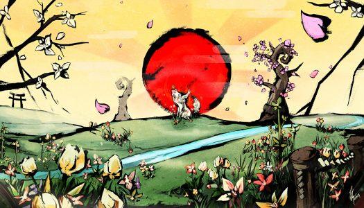 Okami Amaterasu prend la pose devant le soleil couchant