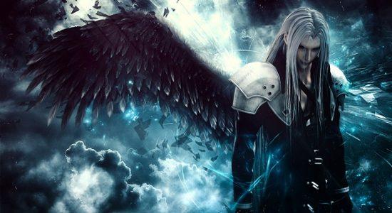 Sephiroth Final Fantasy VII avec son aile noire qui sort de son épaule