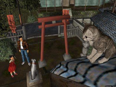 Shenmue Ryo et une petite fille voit un chaton sur un toit