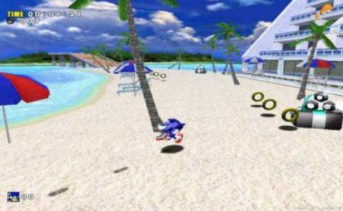 Sonic Adventure Sonic courre sur la plage