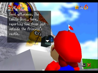 Super Mario 64 Mario discute avec Lakitu qui le filme