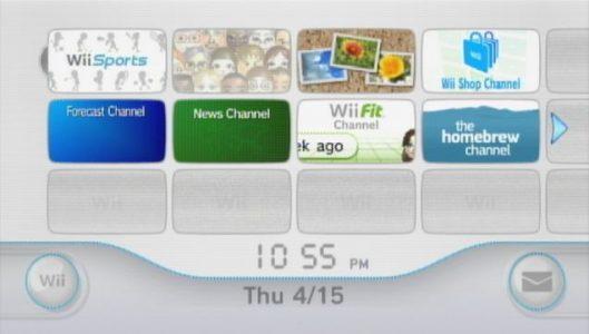 Wii écran d'accueil avec les chaînes