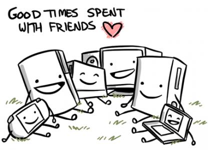 Consoles qui passent du temps ensemble