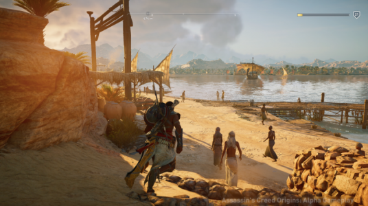 Assassin's Creed Origins Bayek arrive vers une berge