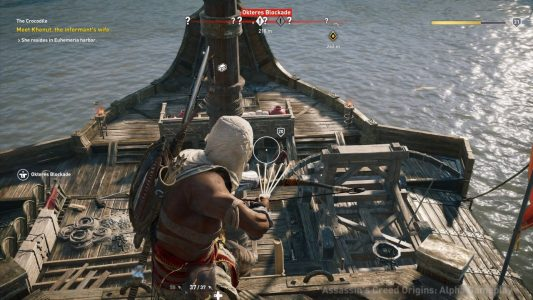 Assassin's Creed Origins Bayek sur un bateau affronte des ennemis