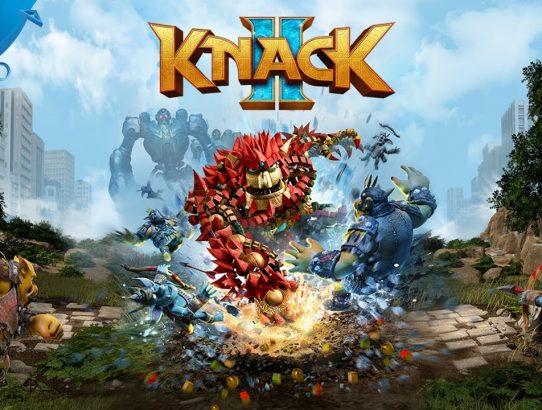 Knack II logo du jeu et Héros qui frappe le sol
