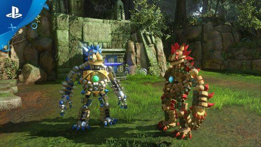 Knack II le héros et son double bleu prennent la pose