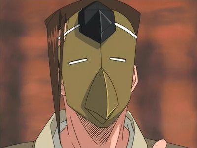 Shaman King Mikihisa Asakura en gros plan avec son masque
