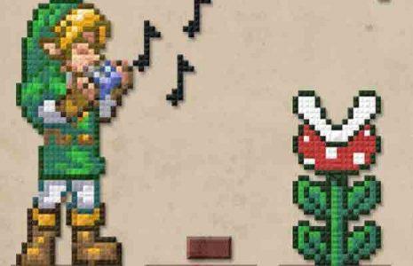 Musique Link joue de l'ocarina devant une plante de Mario Bros