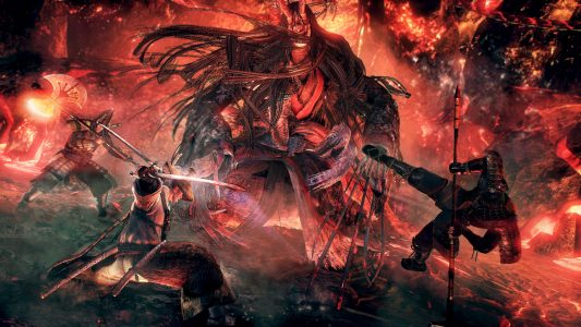 Nioh BloodShed Giant Oni Flammes surrounded Band of Geeks