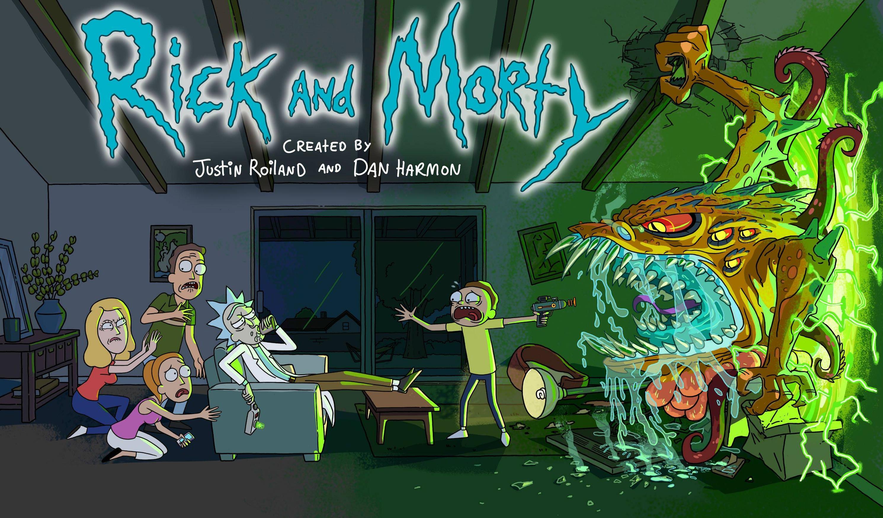 Rick et Morty Rick dans le canapé pendant qu'un monstre surgit de nul part