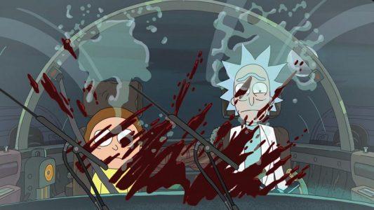 Rick et Morty du sang sur le pare-brise du vaisseau de Rick et Morty