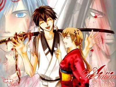 Samurai Deeper Kyo Kyoshiro et Yuya discutent avec Kyo en fond