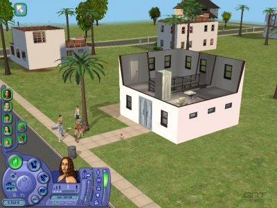 Sims 2 quelques Sims discutent devant une maison