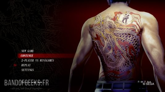 Yakuza Kiwami écran titre avec le dos de Kiryu
