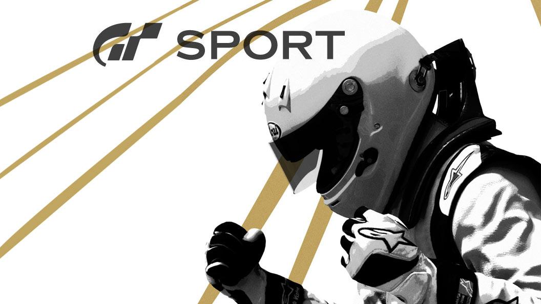 GT Sport Logo et personnage portant un casque