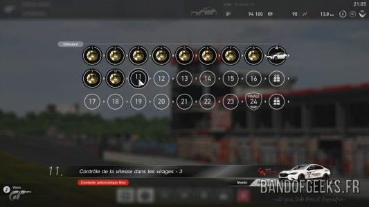 GT Sport écran de l'école de conduite