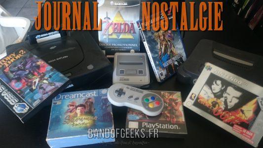 Journal Nostalgie saison 2 consoles et jeux présentés sur une table