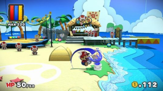 Paper Mario Color Splash Mario frappe une fleur sur la plage