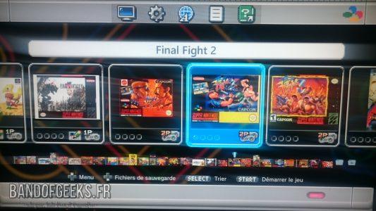 Super Nintendo Mini écran de sélection des jeux