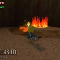 Wind Waker Link face à un scolopandre devant des flammes