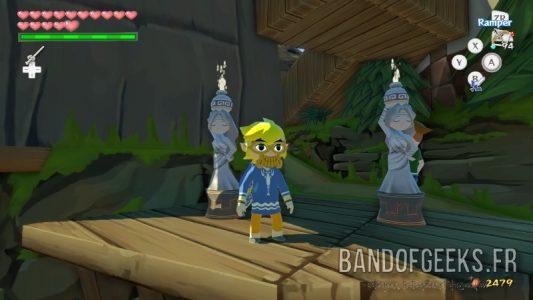 Wind Waker HD Link prend la pose devant deux statues naïades