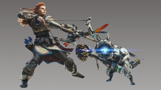 Aloy cat watcher Monster Hunter World x Horizon Zero Dawn Band of Geeks