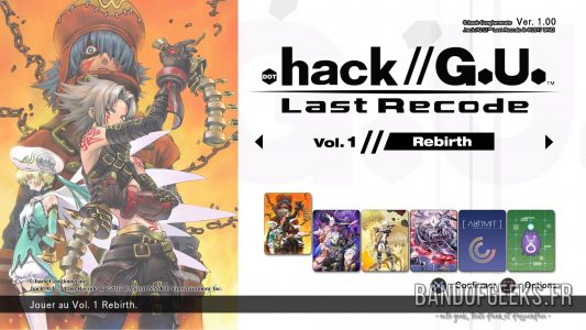 .hack//G.U. Last Recode écran titre choix du jeu