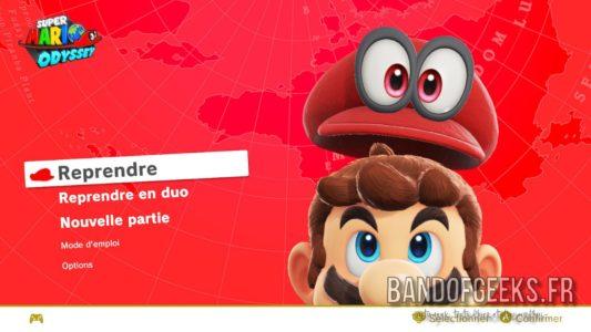Super Mario Odyssey écran titre