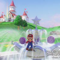 Super Mario Odyssey Mario sur une fontaine devant le chateau de Peach