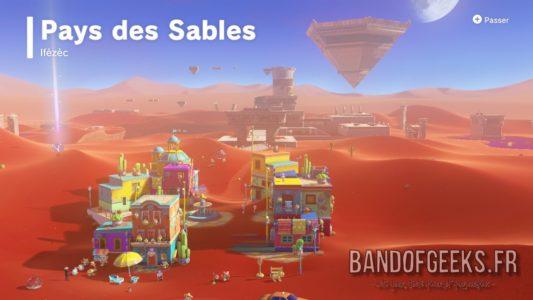 Super Mario Odyssey présentation du pays des sables