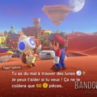 Super Mario Odyssey Mario discute avec Toad