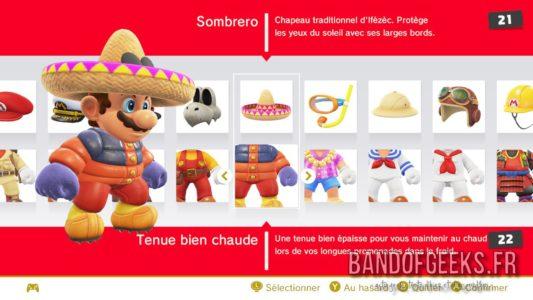 Super Mario Odyssey menu de sélection des tenues de Mario