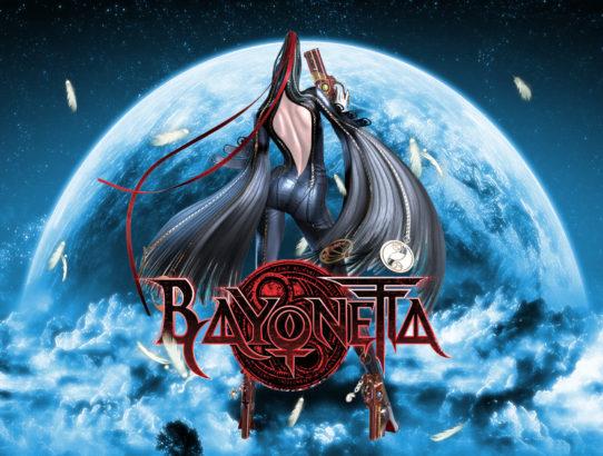 Bayonetta de dos devant une lune avec le logo du jeu
