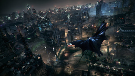 Batman Arkham Knight Batman vole au dessus de Gotham City
