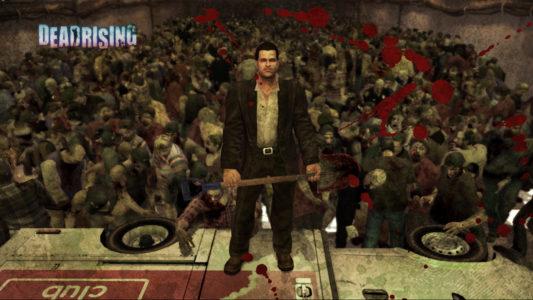 Dead Rising Franck West devant une horde de zombies