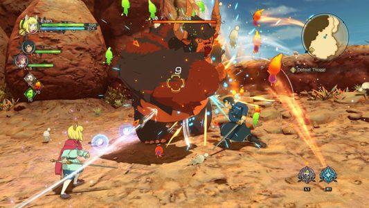 Ni no Kuni 2 combat entre les héros et un gros monstre
