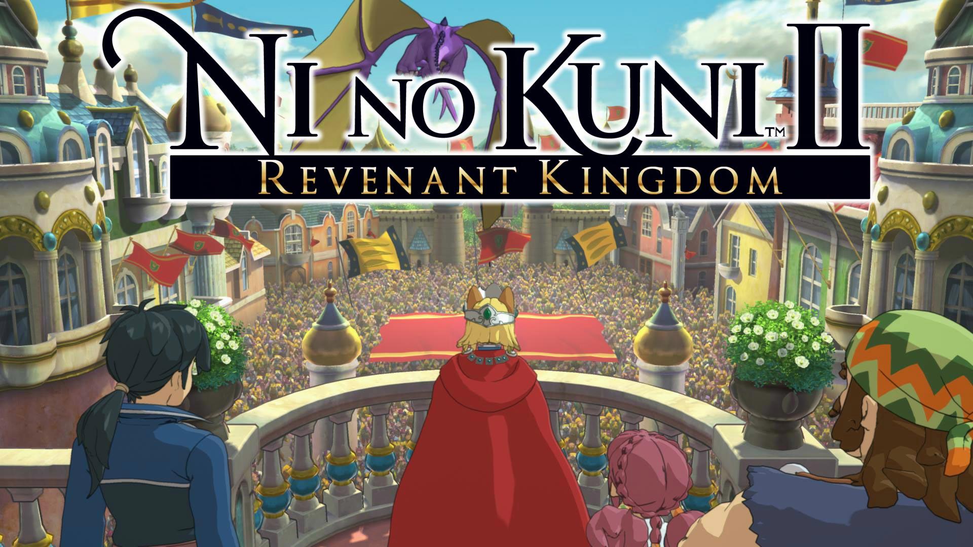 Ni no Kuni 2 logo et héros devant son peuple