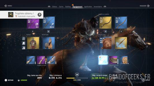 Assassin's Creed Origins menu sélection équipement