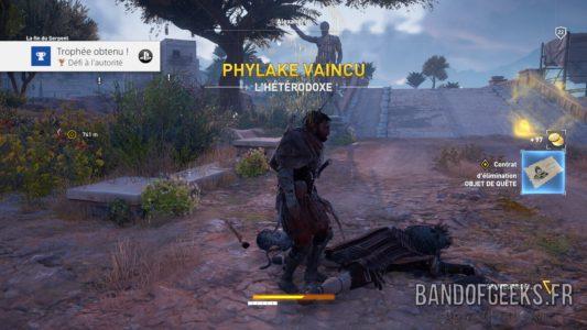 Assassin's Creed Origins Bayek a tué un Phylake