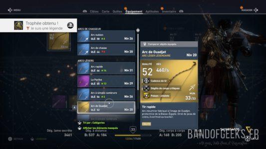 Assassin's Creed Origins menu d'équipement d'armes