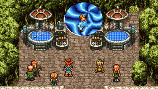 Chrono trigger héros passe dans un portail dimensionnel