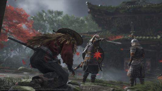 Ghost of Tsushima le héros contourne deux soldats