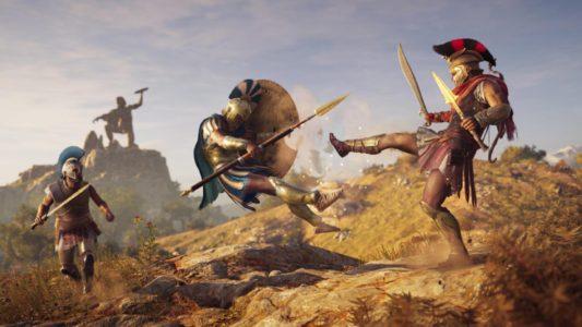 Assassin's Creed Odyssey des lutteurs se battent