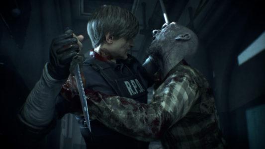 Resident Evil 2 Remake Leon aux prises avec un zombie