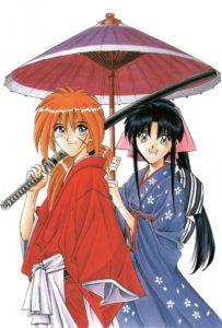 Kenshin et Kaoru s'abritent sous une ombrelle