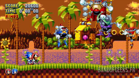 Sonic Mania Plus Sonic et Mighty devant un Boss